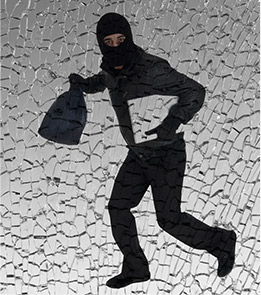 masked robber with bag