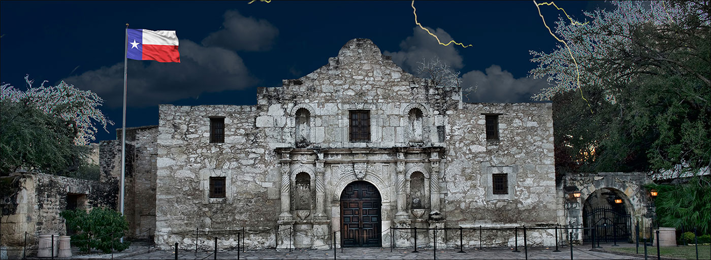the alamo with lightning and storm clouds
